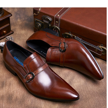 Business Pointed Toe Leather Shoes Mens Oxford Dress Shoes High Quality Genuine Leather Wedding Shoes Men