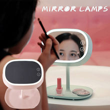 Portable LED Lighted Make-up Mirror Table Lamp Mirror Table Lamp Rechargeable LED Stand for Tabletop Bathroom Bedroom Travel(China)