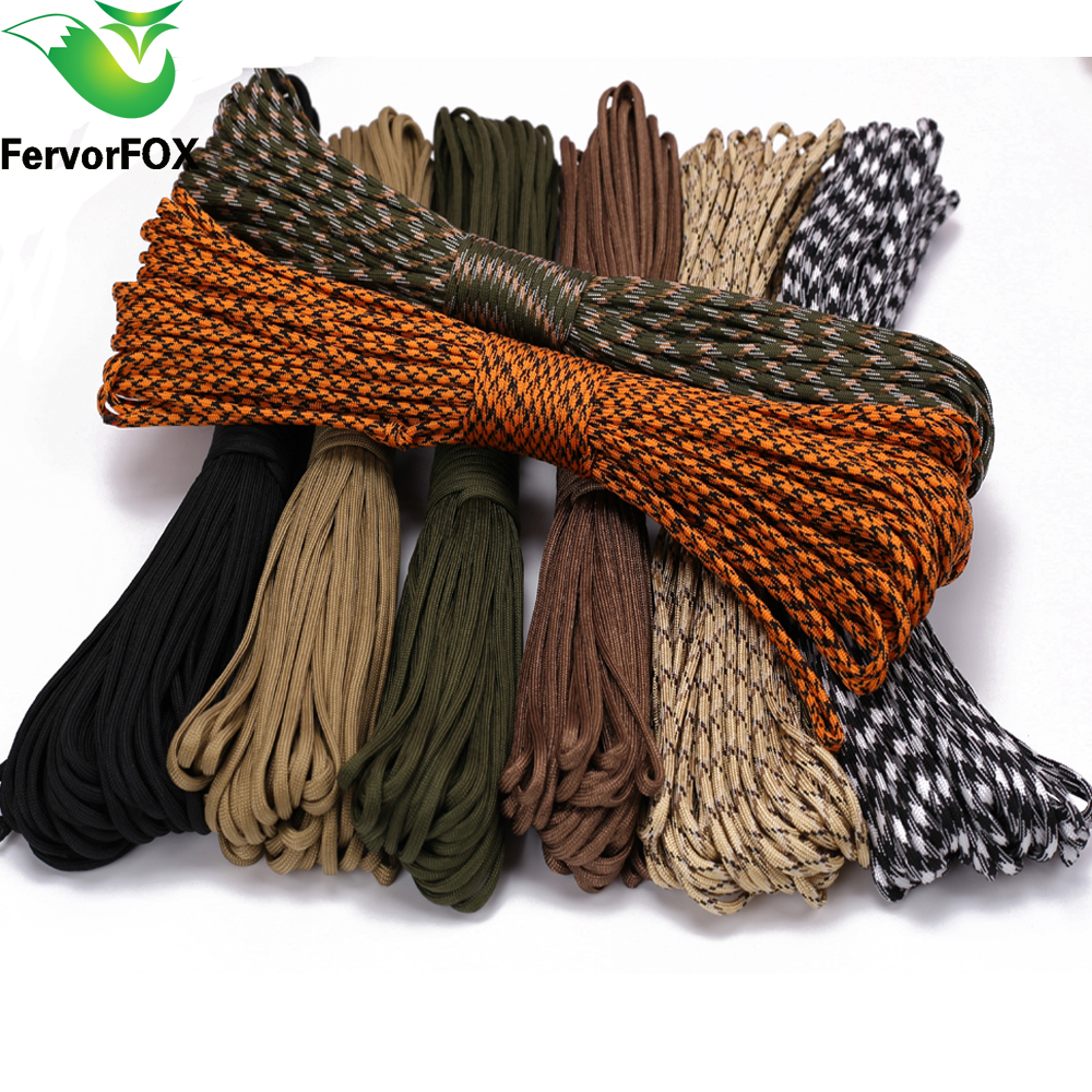 8 colors Paracord 550 Parachute Cord Lanyard Rope Type III 100 Meters Camping survival equipment 25 50 100ft paracord 550 paracord parachute cord lanyard rope mil spec type iii 7 strand climbing camping survival equipment