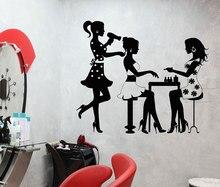 Hair Salon Wall Decal Three Sexy Girls Decoration Vinyl Applique Sticker Art Mural MF03