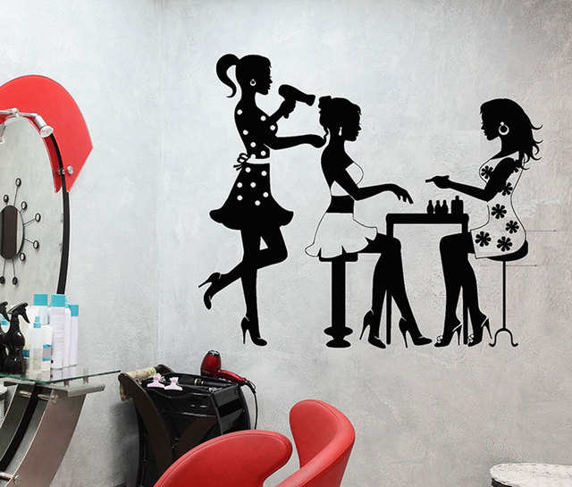 Hair Salon Wall Decal Three Sexy Girls Hair Salon Wall Decoration Vinyl Applique Sticker Art Mural Decal MF03