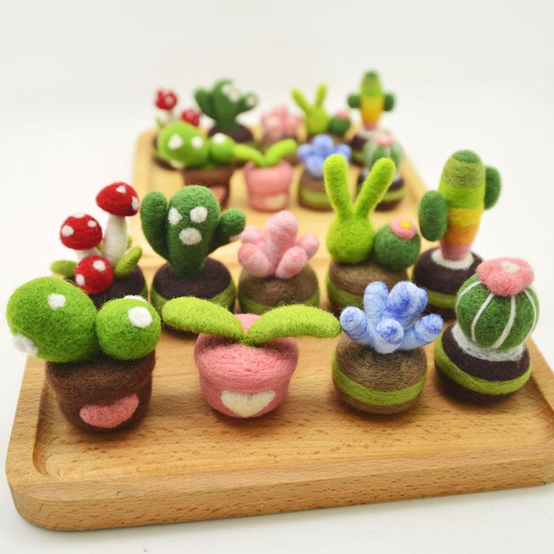 Succulent Plants Wool Needlepoint Kit  Wool Felt Needle Felting Pendant Craft Needlecraft DIY Handmade