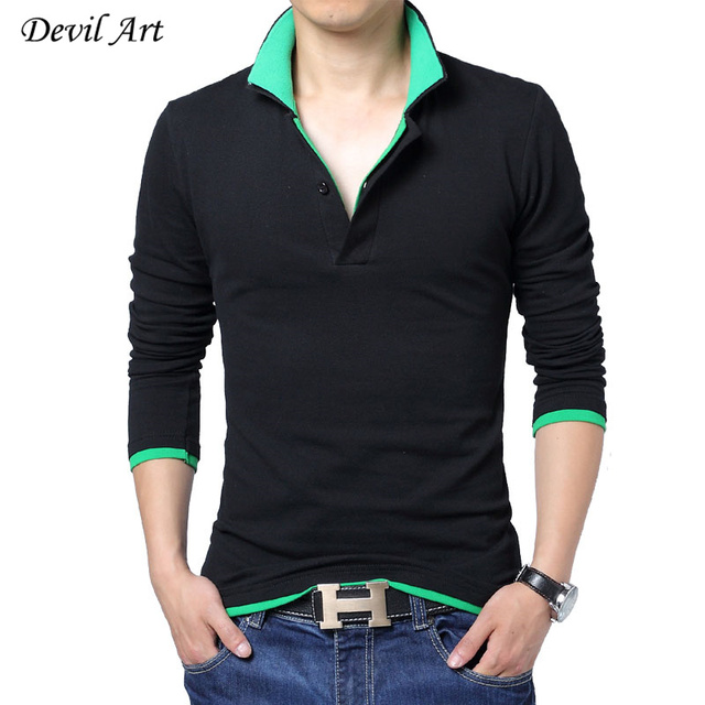 2017 New Fashion Mens Polo Shirt Double Collar Slim Fit Long Sleeve Polo Mens Brand Clothing Trend Men Cotton Polo Shirt 5XL