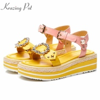 Krazing Pot recommend genuine leather thick bottom crystal buckle rivets European school wedges flat platform brand shoes L00