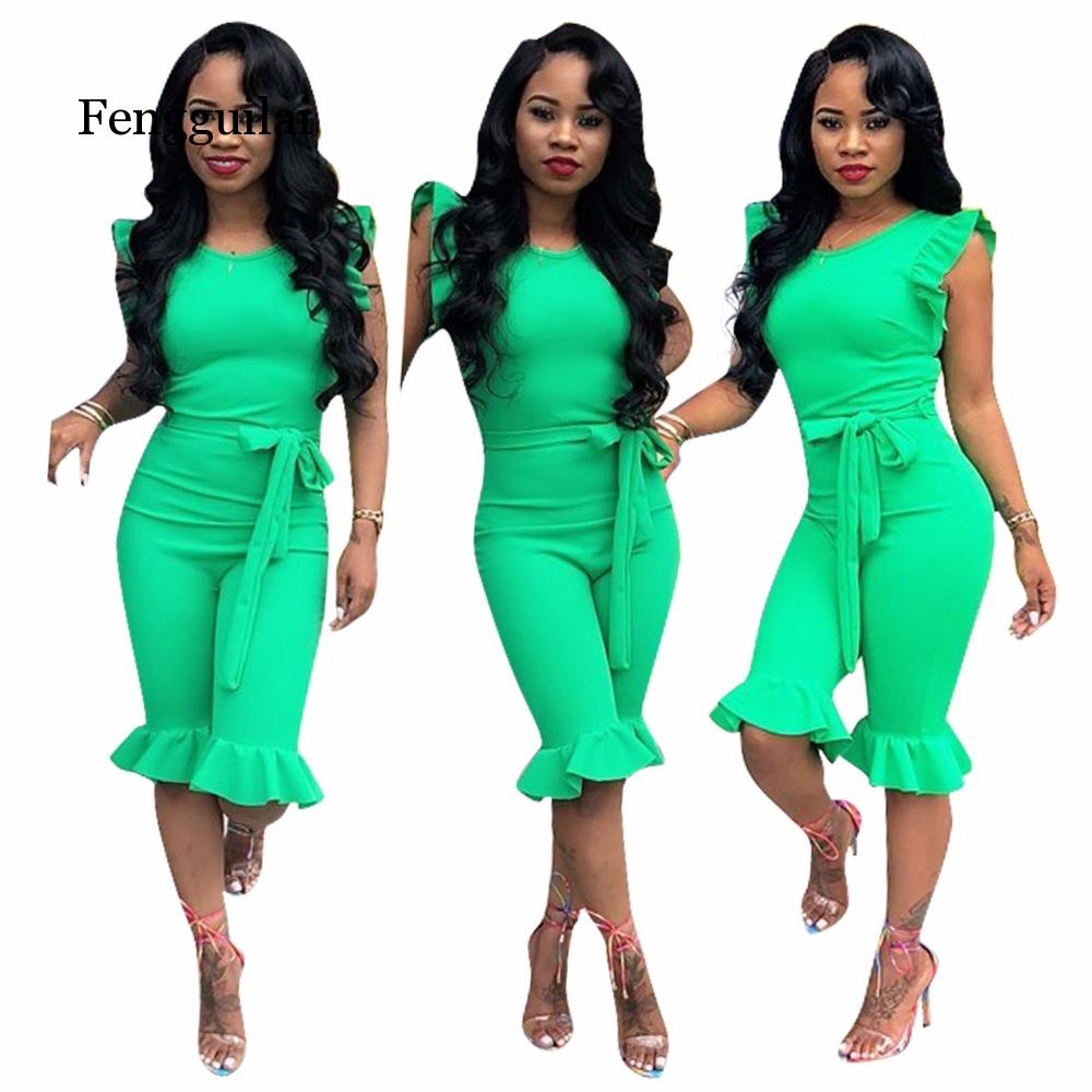 Sexy Overalls Summer Bow Sashes Bodycon   Jumpsuit   Solid Rompers Women   Jumpsuit   Combinaison Femme