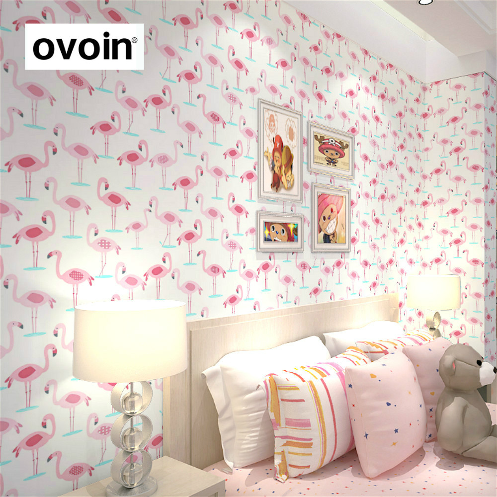 Pink and White Flamingo Bird Wallpapers Roll Romantic Baby Designer Wall Papers For Kids Room Living Room Home Decor Vinyl