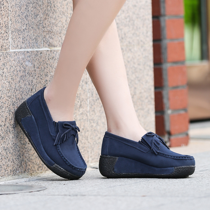 BeckyWalk Autumn Thick Bottom Platform Sneakers Women Shoes Suede Leather Casual Shoes Women Tassels zapatos mujer LoaferWSH2893