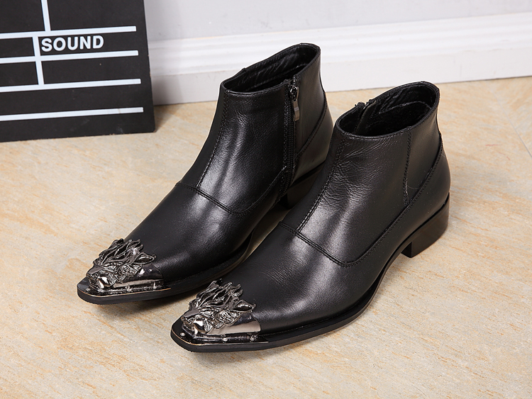 Metal decoration black genuine leather ankle boots side zipper flats formal dress bota masculina winter military boots shoes men