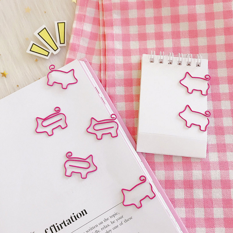 Cute Korean Stationery 10pcs/Lot Kawaii Cartoon Pink Pig Metal Bookmark For Book Paper Clips Kids Gift Office School Supplies 5pack 10pcs hot sale new cute silicone finger pointing bookmark book mark office supply funny gift
