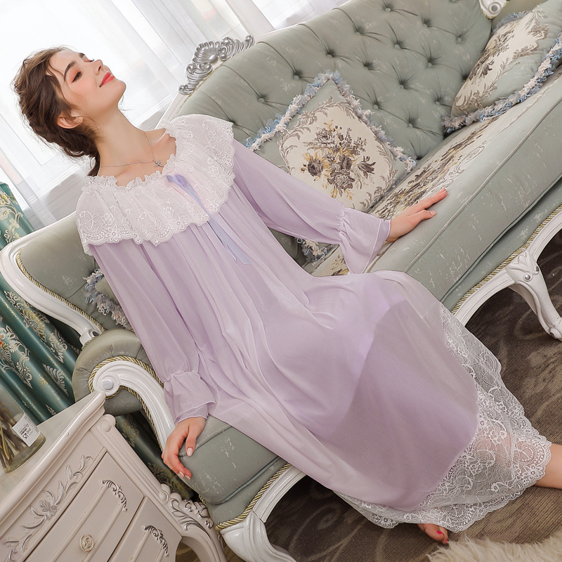 French-style Ladies Lace Sleeping Dress Elegant Women Long Nightwear Navy collar   Nightgowns     Sleepshirts   Lady Nightdress Sleepwe