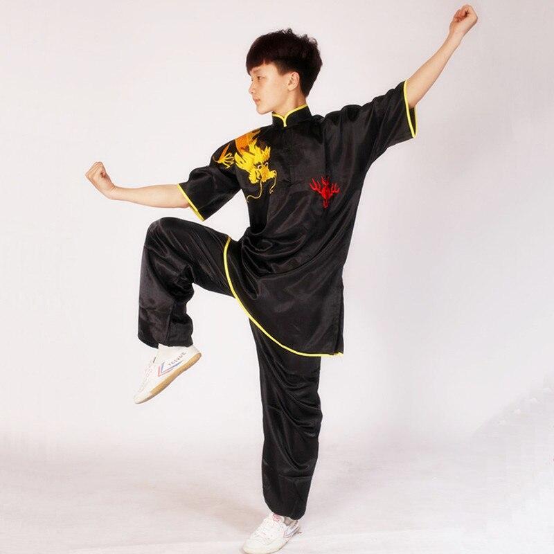 USHINE noir rouge bleu blanc chinois Multi couleur broderie épaule Dragon à manches courtes KungFu Arts martiaux Costume TaiChi Costume