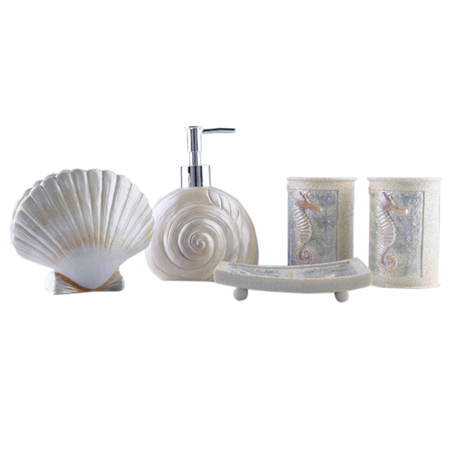 5pcs Bath Set Resin Bathroom Accessories Sea Shell Style Vanity Collection Toothbrush