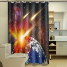 цена на Earth Resplendent Aurora 3D Shower Curtains Mysterious Space Bathroom Curtain Waterproof Thickened Bath Curtain for Boy