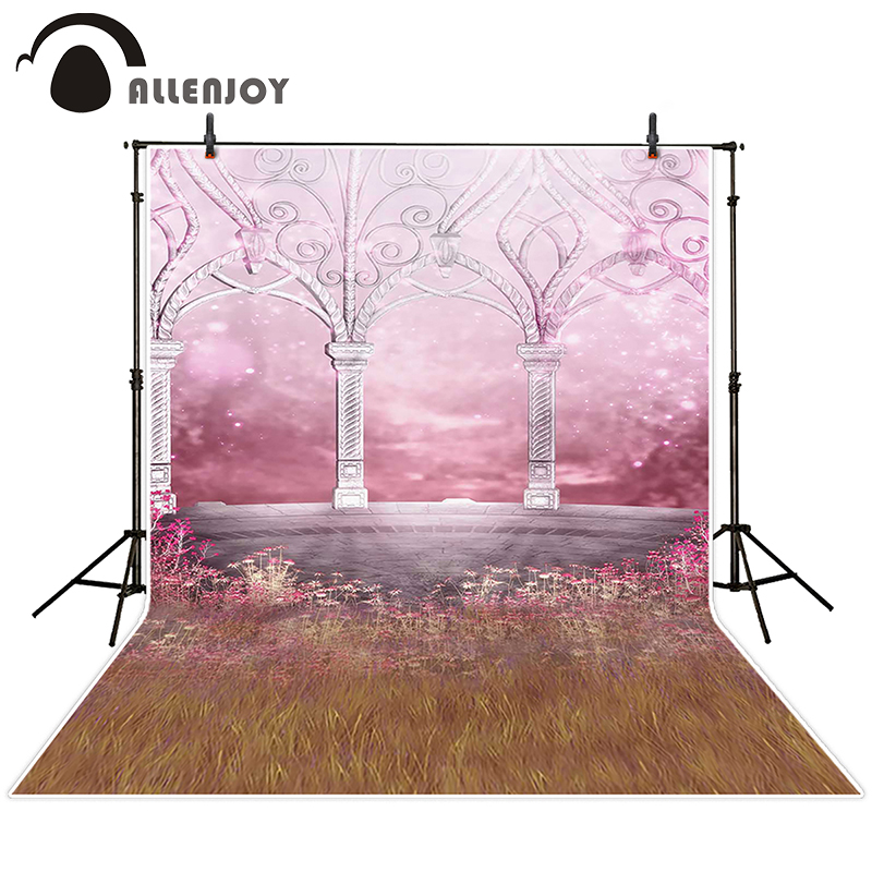 Allenjoy photographic background Pink flower meadow backdrops newborn princess photo customize 7x5ft