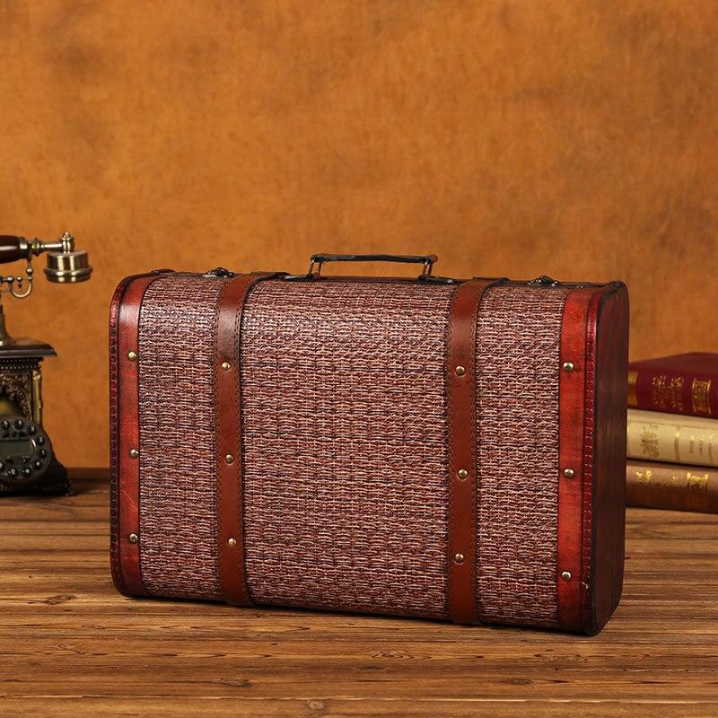 Grande boîte de rangement en bois en métal Vintage avec serrure valise boîte à bijoux pour cadeau artisanat pour organisateur Desket décorations emballage - 3