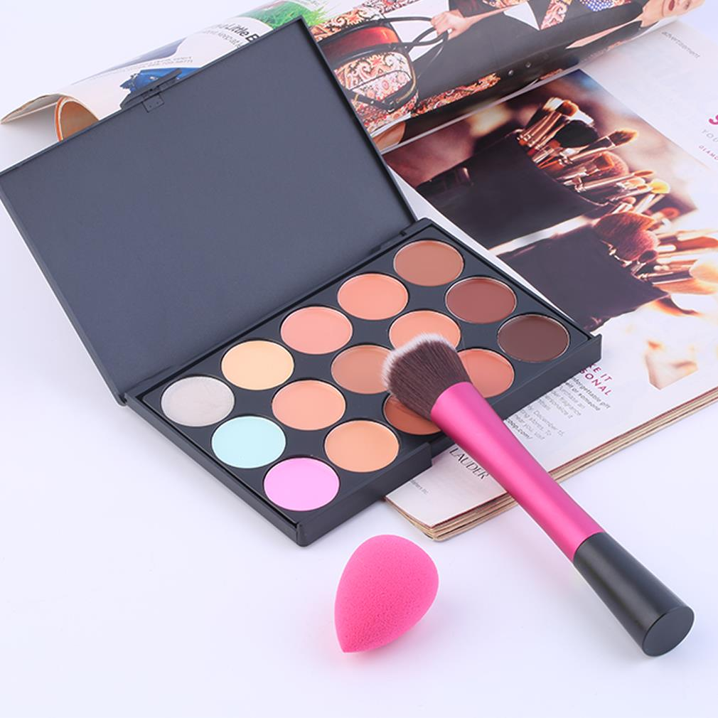 2016 New Arrival 15 Color Concealer Palette + Makeup Brush + Cute Sponge Puff Makeup Contour Palette Makeup Kit Cosmetic Set new arrival 15 color concealer palette sponge puff 24 pcs cosmetic makeup brushes set professional beauty essentials 8 17