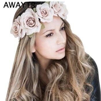AWAYTR Girls Women Handmade Gradient Rose Flower Wreath Vintage Crown  Garland Halo Festival Hair Floral Headband Headpiece db948b37089c