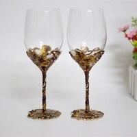 Màu men đám cưới kính pha lê uống kính set nướng cốc rượu vang ủng hộ và quà tặng đảng trang trí