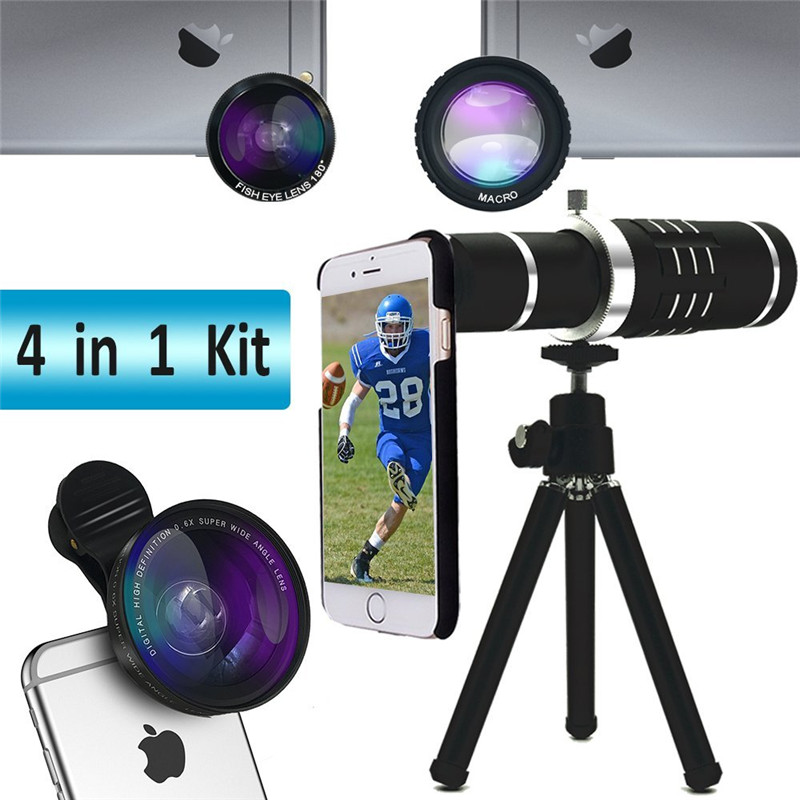 Camera lens kits:18X Telescope lens+0.6 Wide angle/Fisheye/Macro/Phone Hard Case+Self Photo Tripod For Samsung S8/S8 Plus 7 7+ smart phone grip stabilizer cage with wide angle macro lens bluetooth for iphone samsung htc universal adjustable camera housing