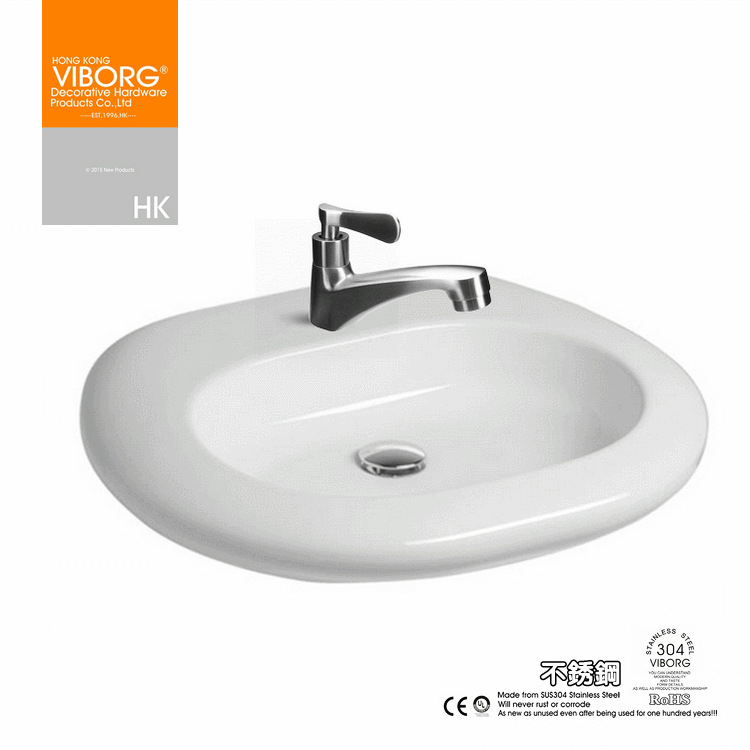 VIBORG Deluxe SUS304 Stainless Steel Casting Lead free Bathroom Basin Vessel Sink Tap Faucets, cold water, brushed