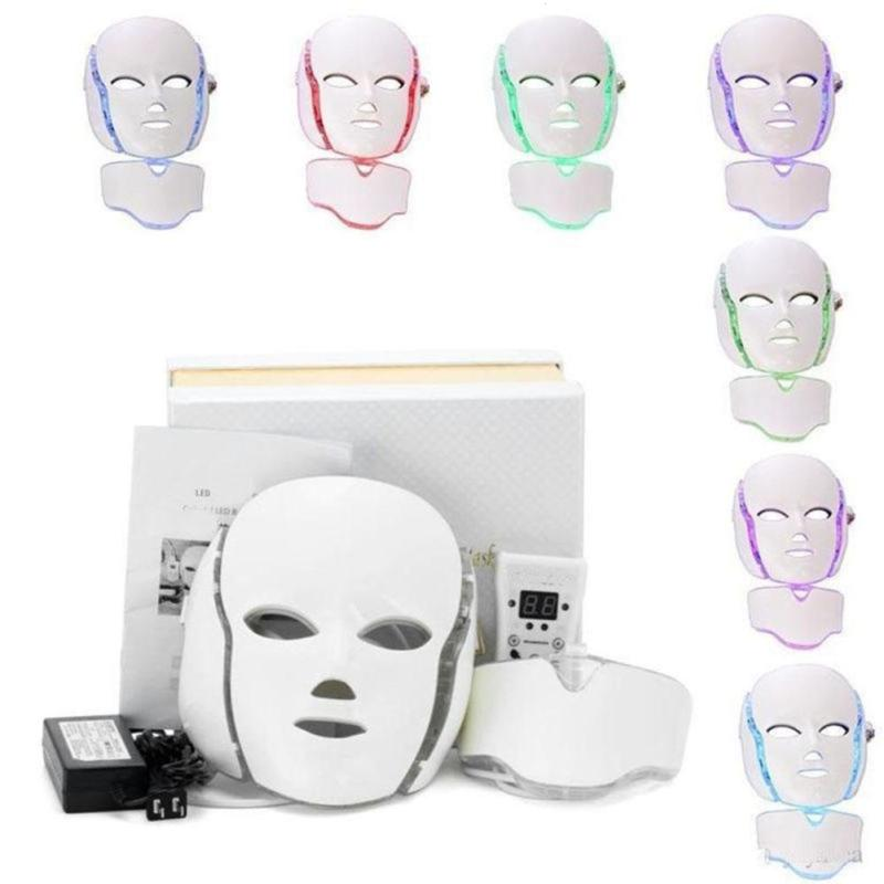 Anti Aging LED Photon Mask Anti Acne Facial Neck Skin Rejuvenation Beauty Device Light Therapy Face Care Instrument Home Use W3 ckeyin electric beauty face massage skin care photon 2 colors led light therapy device whiten moisturiz anti aging acne wrinkle