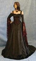 Ренессанс средневековый Готический Театр платье языческие Викка Ренессанса платье Платье черного цвета плюс Размеры
