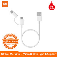 Global Version Xiaomi Two in One Charging Cable Micro USB to Type-C Support Fast Charge for Xiaomi Smart Phone Xiaomi Mi Pad(China)