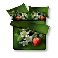 3D Flores de Morango Verde Conjuntos de Cama Queen Size 100% Algodão Conjuntos Capa de Edredão Lençóis Fronha Têxtil China Expresso de Ar