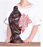 45CM Large GOOD HOME Temple Spiritual protection Bless family # African ebony wood Bodhidharma Buddha carving ART statue