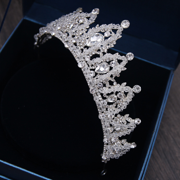 Baroque Luxury Handmade Rhinestone Bridal Crown Tiaras Silver Crystal Diadem Tiaras for Bride Headbands Wedding Hair Accessories 10