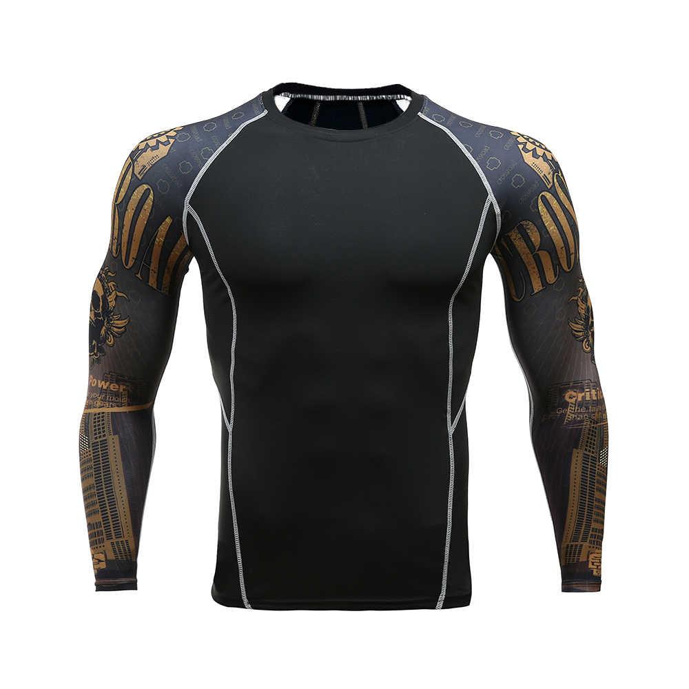 3b85302a9d2e7 ... Для мужчин s Фитнес одежда с длинным рукавом Рашгард футболка Для  мужчин Бодибилдинг кожу жесткой Термальность ...