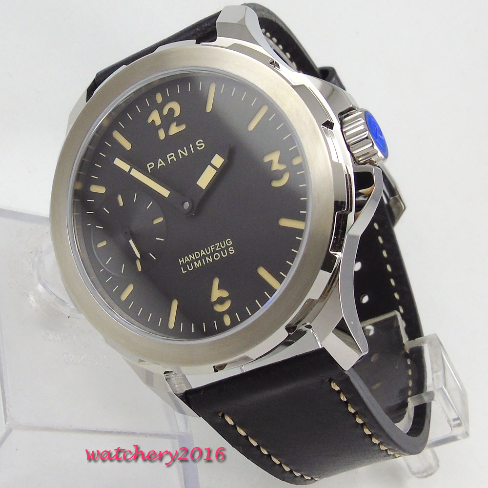 44mm PARNIS Black Dial Luminous Marks Steel Case Top brand Luxury 17 jewels 6497 Movement Hand Wind Mechanical mens Watch44mm PARNIS Black Dial Luminous Marks Steel Case Top brand Luxury 17 jewels 6497 Movement Hand Wind Mechanical mens Watch