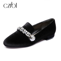 Woman Shoes Luxury Famous Brand Crystal 100 Velvet Sheep Leather Wedding Women Flats Shoes Female Casual