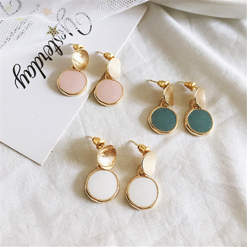 Fashion unique Korean contracted earrings fresh chic girl with delicate circular geometric wholesale