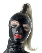 Unisex Latex hood rubber mask open mouth and eyes with hairpiece plus