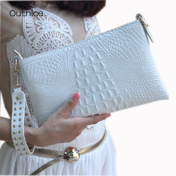 White Envelope Evening Clutch Bag Crocodile Pattern Leather Genuine Messenger Women Bags Crossbody Purses and Handbag Designer