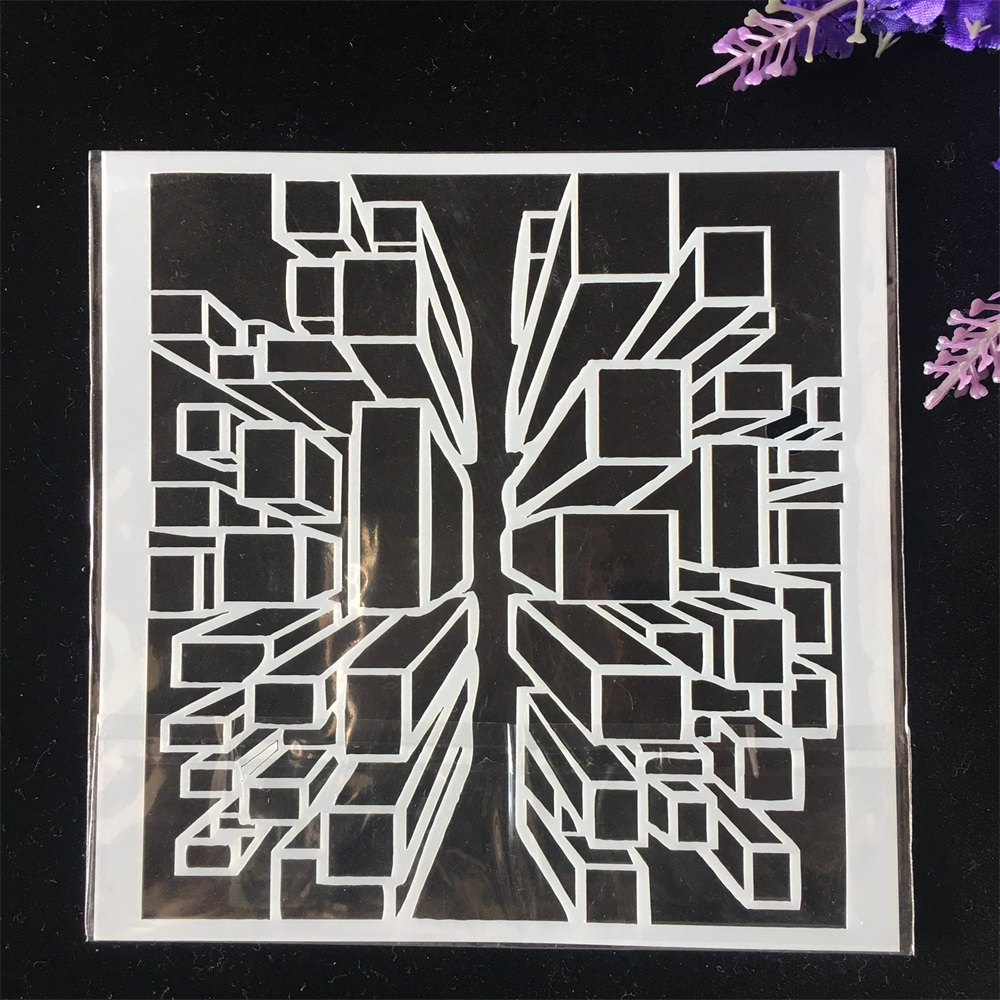 1Pcs 13cm 3D Cube DIY Craft Layering Stencils Wall Painting Scrapbooking Stamping Embossing Album Card Template