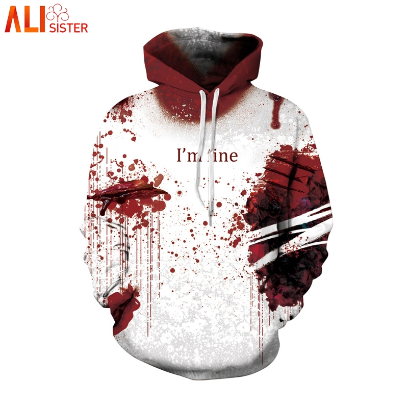 Alisister I'm Fine Horror Blood Halloween Hoodies Men Women Plus Size Cosplay Sweatshirts Wound Print 3d Streetwear Masculino