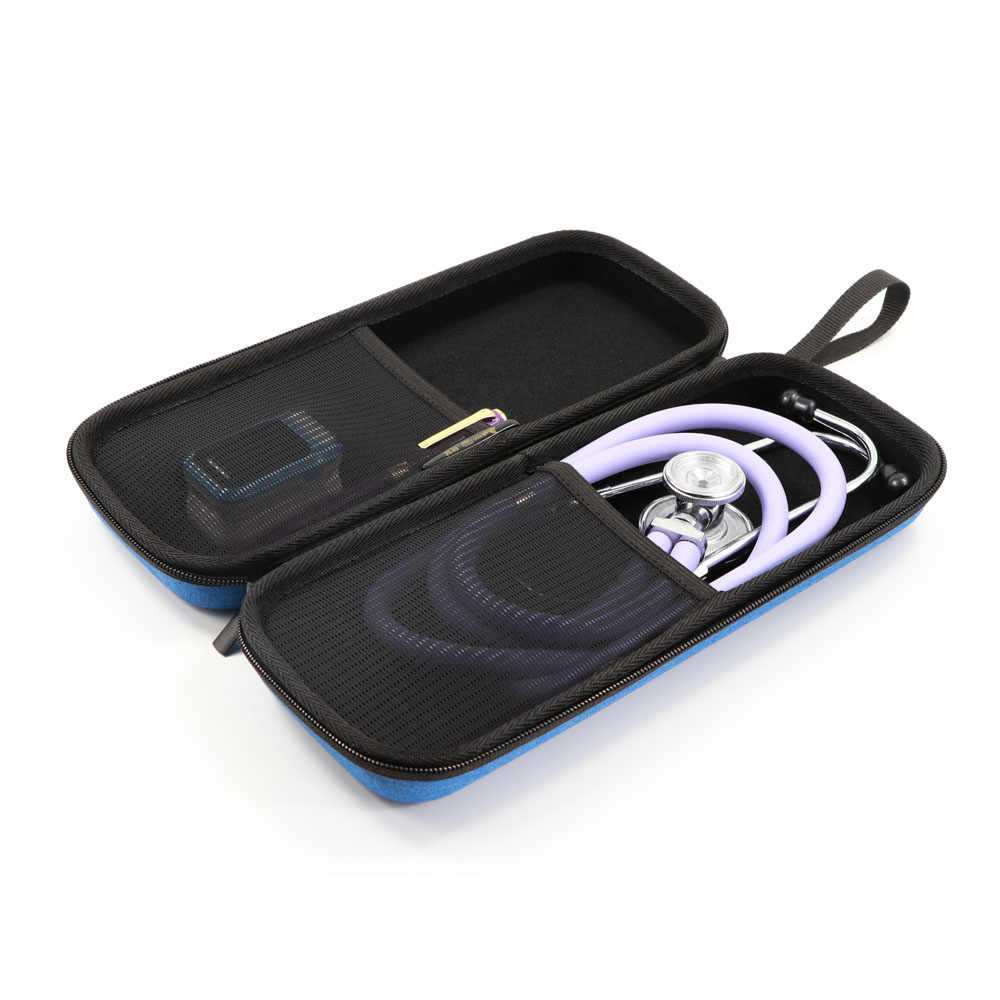 Keras EVA Portable Stetoskop Membawa Case Penyimpanan Kotak Shell Kantong Jala untuk 3M Littmann III Stetoskop Medis Tas Organizer