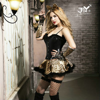 9737 2016 Free Shipping Hot Selling Adult Jumpsuit Costumes Black Sexy Fancy Costume Catsuit Costumes Cat