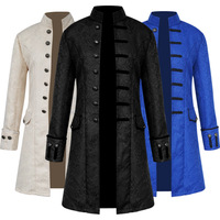 Men Victoria Edwardian Steampunk Trench Costume Frock Outwear Vintage Prince coat Medieval Renaissance Jacket Cosplay Costume