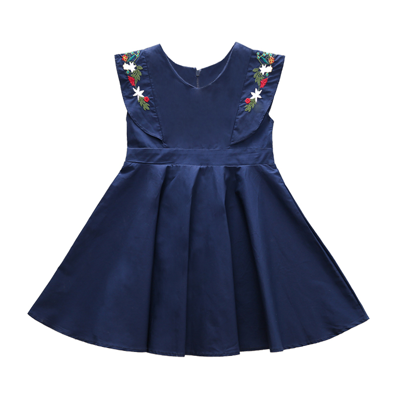 Hurave 2018 New baby Girl clothes Children Summer Clothing sleeveless dress Kids embroidery boutique princess dresses baby girls dress newborn girl clothes children clothing princess flower girl dresses summer children clothing baby stripes dress
