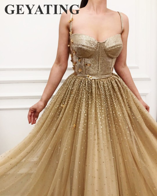 Sparkly Sequins Gold Long Prom Dresses 2019 Sexy Spaghetti Straps A-Line Bling Bling Sequined Elegant Women Evening Formal Dress