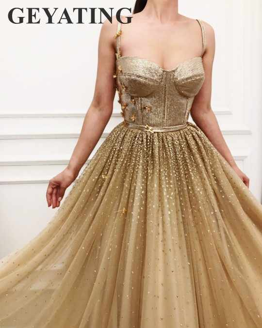7f7f2a13 Sparkly Sequins Gold Long Prom Dresses 2019 Sexy Spaghetti Straps A-Line  Bling Bling Sequined