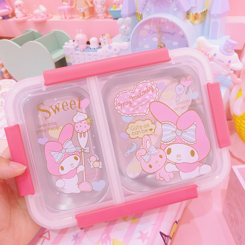 New Lovely My Melody Stainless Steel Portable Student Lunch Box For Children Gifts School
