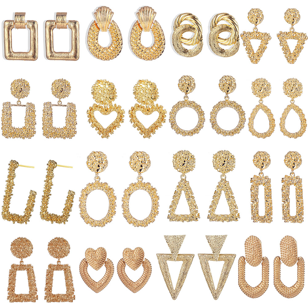 Женские винтажные серьги-подвески IPARAM, большие геометрические серьги золотого/серебристого цвета, индийские ювелирные изделия, 2019