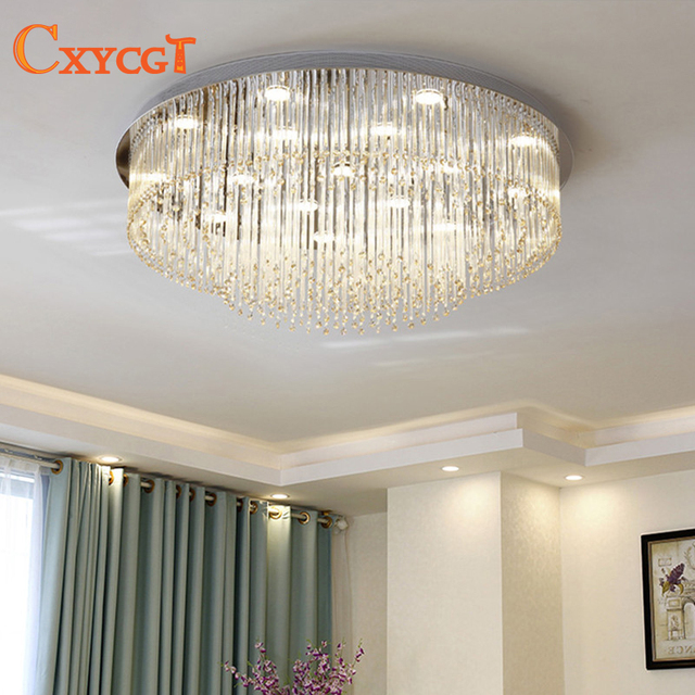Get Large Amount Of Illumination With Led Kitchen Ceiling: Modern Led Crystal Large Round Ceiling Light For Living