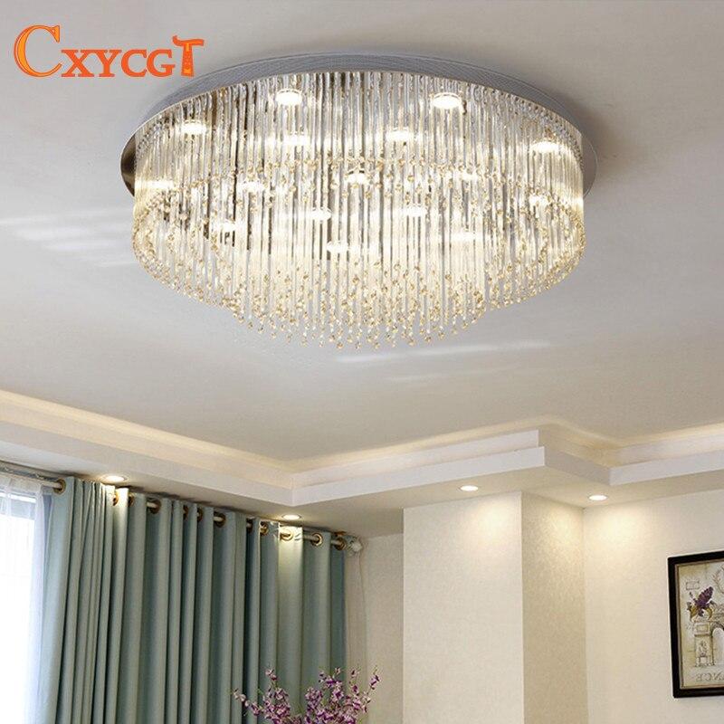 Modern led de Cristal Grande Rodada luz de teto para o Quarto Decoração sala de Estar Lâmpada Do Teto Iluminação Interior Luminária