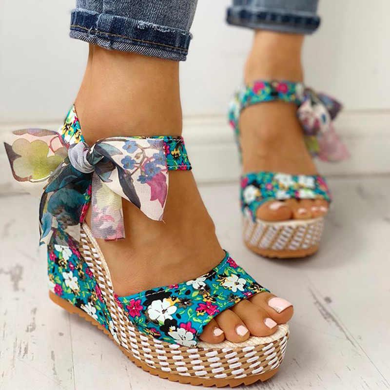 MCCKLE kadın yaz kama sandalet kadın çiçek ilmek platformu yüksek topuk moda Bohemian ayak bileği askı burnu açık bayanlar ayakkabı