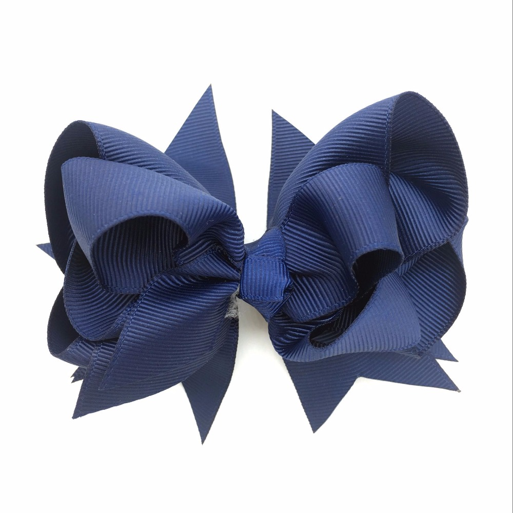 1PC 5inch Kids Hair Bows 3Layers Solid Dark blue Clips Boutique Ribbon For Girls Hairpins Accessories